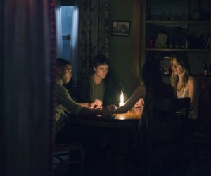 (Left to Right) Lucien Laviscount, Douglas Smith, Jenna Kanell, and Cressida Bonas in THE BYE BYE MAN
